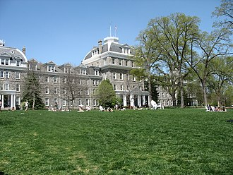 Swarthmore College - Parrish Hall, named in honor of the first president, Edward Parrish (1822–1872), contains the admissions, housing, and financial aid offices, along with student housing on the upper floors.