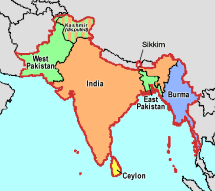Four nations (India, Pakistan, Dominion of Ceylon, and Union of Burma) that gained independence in 1947 and 1948 Partition of India.PNG