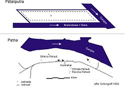 Plan of Pataliputra compared to present-day Patna