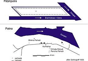 План Пататипутры по сравнению с современной Патной
