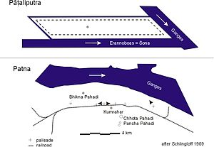 Pataliputra - Plan of Pataliputra compared to present-day Patna