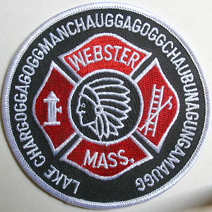 "Place names considered unusual - Webster, Massachusetts firefighter's patch with the longest version of ""Webster Lake's"" name on its circumference"