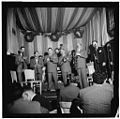 Pee Wee Russell, Max Kaminsky, Wild Bill Davison, Jack Lesberg, George Brunis, Bud Freeman, and Freddie Ohms, Eddie Condon's, New York, between 1946 and 1948 (William P. Gottlieb 01661).jpg