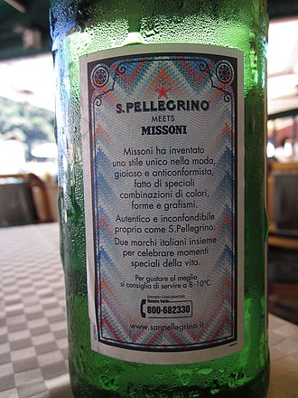 Missoni - A temporary promotional design by two iconic Italian brands: a Pellegrino mineral water bottle with a Missoni-style label, 2010
