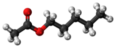 Ball-and-stick model of the amyl acetate molecule