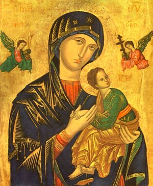 Our Lady of Perpetual Help (Glenview, Illinois) - In 1915, Rev. John Vattman changed the parish name to Our Lady of Pereptual Help in honor of the Virgin Mary as depicted in this religious icon from the 15th century.