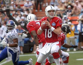 2006 Pro Bowl - AFC quarterback Peyton Manning was intercepted 3 times in the first half.