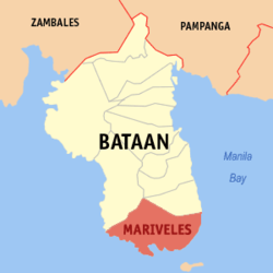 Map of Bataan showing the location of Mariveles