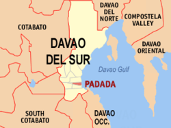 Map of Davao del Sur with Padada highlighted