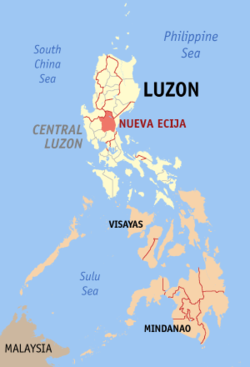 Map of the Philippines with Nueva Ecija highlighted
