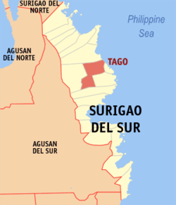 Map of Surigao del Sur showing the location of Tago
