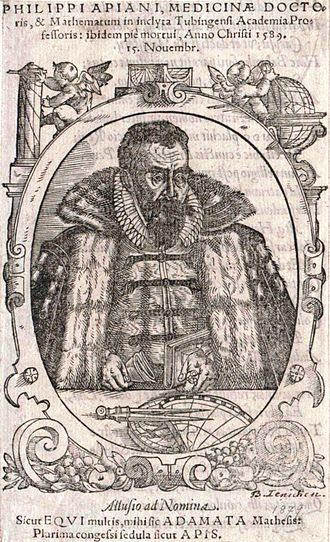 Philipp Apian - Philipp Apian (woodcut by Jochachim Lederlin, 1596)