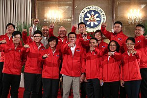 Philippines at the 2016 Summer Olympics - The Philippine Olympic delegation posing with President Rodrigo Duterte at the Malacañang Palace.