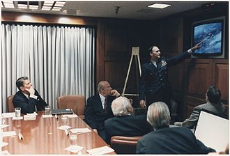National security - President Reagan in a briefing with National Security Council staff on the Libya Bombing on 15 April 1986