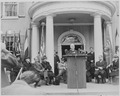 Photograph of President Truman speaking at the dedication of Franklin D. Roosevelt's home at Hyde Park, New York as a... - NARA - 199360.tif