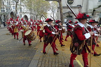 Lord Mayor's Show - The Company of Pikemen and Musketeers Company of the Honourable Artillery Company leaving the Royal Courts of Justice and heading south towards the River Thames, during the second half of the 2011 Lord Mayor's Show.