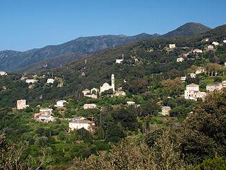 Pino, Haute-Corse - The church and surrounding buildings in Pino