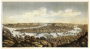 Pittsburgh in the American Civil War - Lithograph showing bird's-eye view of the city of Pittsburgh, Pennsylvania from Mt. Washington.