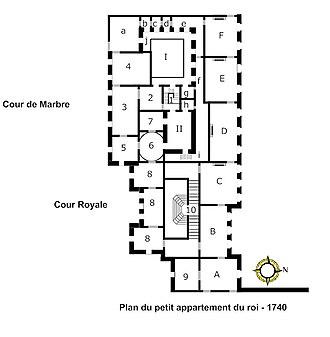 Petit appartement du roi - Image: Plan du petit appartement du roi 1740