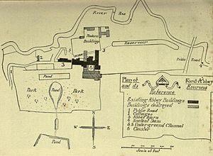 Forde Abbey - Plan of the Abbey and its surroundings (1911)