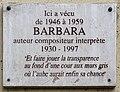 Plaque Ici Vécu Barbara 50 Rue Vitruve - Paris XX (FR75) - 2021-05-27 - 1.jpg