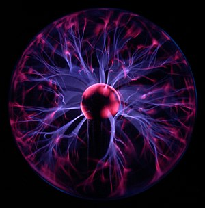 Plasma lamp, illustrating some of the more complex phenomena of a plasma, including filamentation. The colors are a result of relaxation of electrons in excited states to lower energy states after they have recombined with ions. These processes emit light in a spectrum characteristic of the gas being excited.