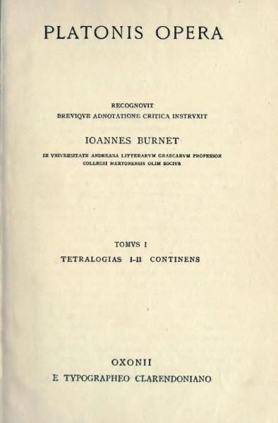 File:Platonis opera, ed. Burnet, tomus I.djvu