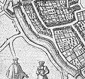 Plattegrond Maastricht uit atlas Civitates Orbis Terrarum (Braun en Hogenberg, 1575) - omgeving Sint Servaasbolwerk tussen Brusselsepoort en Tongersepoort.jpg