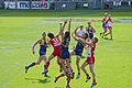 Players fly for the mark, 2005 AFL Grand Final.jpg
