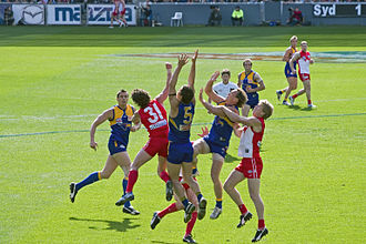 West Coast Eagles - Image: Players fly for the mark, 2005 AFL Grand Final