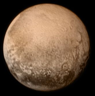 Geography of Pluto - Pluto as viewed by the New Horizons spacecraft (context; color; July 2015)