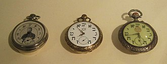 Hebrew numerals - Early 20th century pocket watches with Hebrew numerals in clockwise order (Jewish Museum, Berlin).
