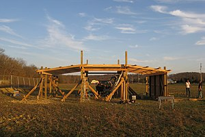 Pole building framing - A pole barn under construction