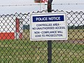Police notice on the fence at Leeds Bradford International Airport (24th July 2010).jpg