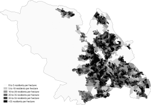 Demography of Sheffield - Population density in the 2011 census in Sheffield