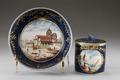 Porslinskopp med lock och fat, från 1700-talets slut - Hallwylska museet - 93768.tif