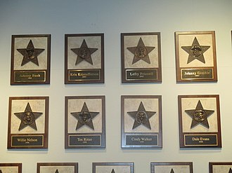 Texas Country Music Hall of Fame - Some of the plaques of the inductees into the Texas Country Music Hall of Fame