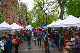 Pop up canopy - A number of frame tents at the Portland Farmers Market.