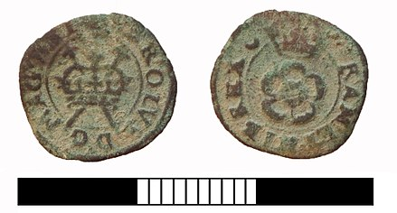 Farthing of Charles I, showing a crown over two sceptres in saltire on the obverse. The two sceptres represent the two kingdoms of England and Scotland. Post medieval coin, Rose farthing of Charles I (FindID 619759).jpg