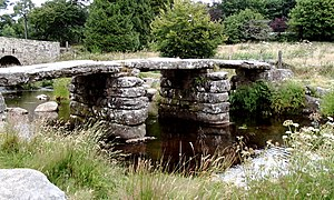 Clapper bridge - The clapper bridge at Postbridge