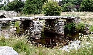 East Dart River - The clapper bridge crossing of the East Dart, at Postbridge