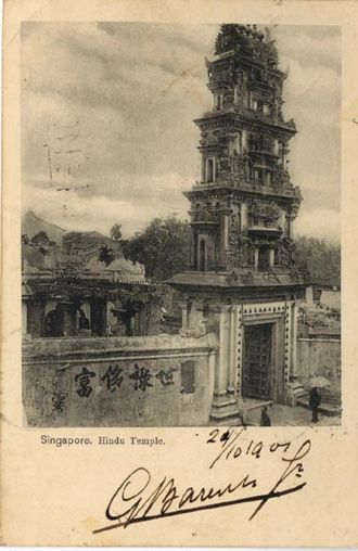 Sri Mariamman Temple, Singapore - The original three-tiered gopuram.