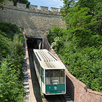 Petřín funicular - Train passes through the Hunger Wall