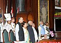 Pranab Mukherjee, the Vice President, Shri M. Hamid Ansari, the Prime Minister, Shri Narendra Modi and other dignitaries at the ceremony to launch the Goods & Service Tax (GST), in Central Hall of Parliament, in New Delhi.jpg