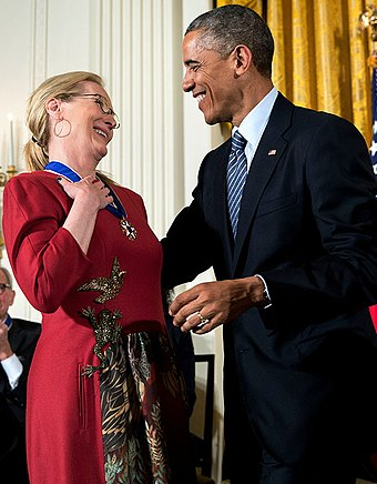 Streep with Barack Obama President Barack Obama presents the Presidential Medal of Freedom to actress Meryl Streep during a ceremony in the East Room of the White House (cropped).jpg