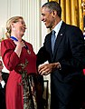 President Barack Obama presents the Presidential Medal of Freedom to actress Meryl Streep during a ceremony in the East Room of the White House (cropped).jpg