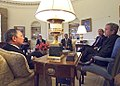 President George W. Bush meets with New York Governor George Pataki and Mayor Michael Bloomberg.jpg