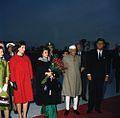 President John F. Kennedy, First Lady Jacqueline Kennedy, Prime Minister of India Jawaharlal Nehru, and Others at Arrival Ceremonies.jpg