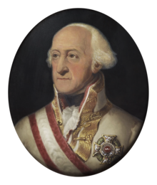 Portrait of the Prince, wearing Austrian military uniform with the ribbon and star of the Order of Maria Theresa of Austria.