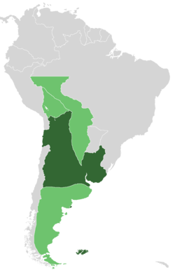 United Provinces in 1816, during both the Independence War and the Civil War. In lighter green, the territories not under Independentist control. In darker green, the Supreme Directorship loyalist provinces, and the Federal League provinces.
